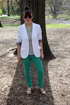 green jeans, striped T, aviators