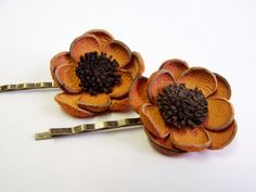 Orange and brown leather flower bobby pin hair pin by Agate Christina
