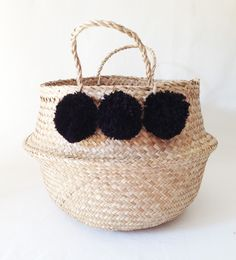 Pom Pom Seagrass Belly Basket Black Panier Boule Storage Nursery Beach Picnic Toy by TalaHomeDesign on Etsy https://www.etsy.com/listing/235456068/pom-pom-seagrass-belly-basket-black