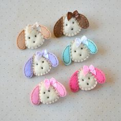 Puppy Felt Hair Clips - You Pick 1 Clippie - Chocolate, Hot Pink, Light Pink, Lavender, Khaki, Aqua Dog Clippies - Cute every day clip. $3.50, via Etsy.
