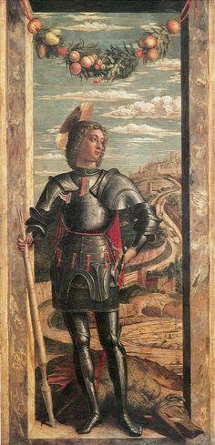 """artist-mantegna: """"St. George, 1467, Andrea Mantegna Size: 32x66 cm Medium: canvas, tempera"""""""