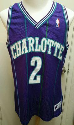 VTG AUTHENTIC Champion NBA Jersey - Charlotte Hornets - Larry Johnson #2 - 48 #Champion #CharlotteHornets