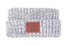 This cuffedbeanieis knit out of 100% cotton yarn in natural and navy colors and features a brown leather patch that...