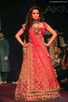 Red Lengha by Shyamal & Bhumika at Lakme Fashion Week Winter / Festive 2013