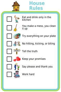 Many families find it super helpful to agree on and post House Rules someplace that is visible to the whole family. Using a picture checklist for this makes it look more fun, and also makes it usab… Kids House Rules, Rules For Kids, Kinder Routine-chart, Kids And Parenting, Parenting Hacks, Peaceful Parenting, Kids Routine Chart, Age Appropriate Chores For Kids, Kids Schedule