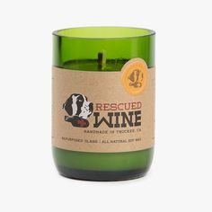 Rescued Wine Mimosa Candle: candles made from rescued wine bottles — the profits help support rescued dogs!