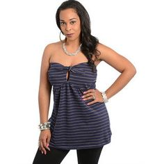 Plus Size Tops | Shop The Trends Women's Plus Size Navy Stripes Strapless Babydoll Top ...