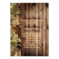 rustic barn wood western country Camo Wedding Announcement