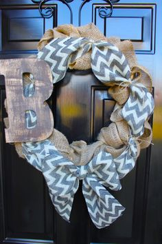 Spring Wreath - Chevron burlap wreath- Mothers Day Gift - Door Decor. $59.00, via Etsy.
