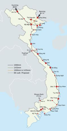 Map of the Vietnamese railway network, 2011.
