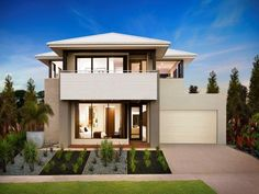 Live Passionately with the Melody double storey house design, a stylishly charismatic 4 bedroom home with open-plan family living & home office space. Two Storey House Plans, Double Storey House, House Plans And More, Small House Plans, New Home Designs, Cool House Designs, Style At Home, House With Balcony, Design Your Dream House
