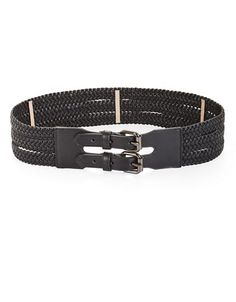 Faux-leather belt, woven into three straps that wrap around the natural waist
