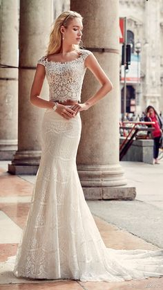 eddy k milano bridal 2017 cap sleeves lace bodice trumpet skirt two piece wedding dress (md207) mv train