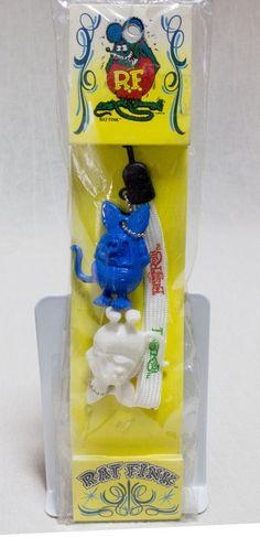 Rat Fink Mascot Figure Keychain Mobile Strap Blue & White Set Ed Big Daddy Roth