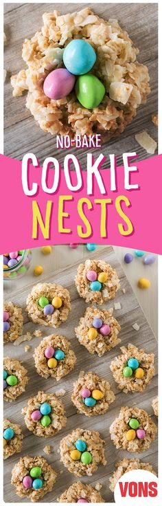 No-Bake Cookie Nests are major cookie goals! This kid-friendly recipe is a must-… No-Bake Cookie Nests are major cookie goals! This kid-friendly recipe is a must-try! Desserts Ostern, Köstliche Desserts, Delicious Desserts, Dessert Recipes, Yummy Food, Easter Desserts, Candy Recipes, Fun Food, Dessert Ideas
