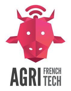 """Logo mouvement """" Agri French Tech """" pour l'innovation dans le secteur agricole avec une tête de vache comme étendard #agriculture #startup #french #agri"""