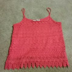 Maurices tank top Cute lace overlay tank in bright coral red, super cute for summer time and spring Maurices Tops Tank Tops