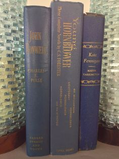 DECORATIVE BOOKS 3 DISPLAY BLUE GOLD PINTEREST LIBRARY READING PROPS OLD SET LOT #DECORATIVEBOOKS #DECORATEwithBOOKS