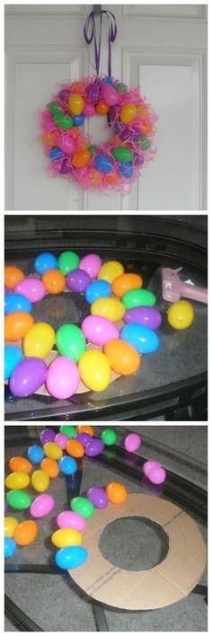 Plastic Egg Wreath to Make for Easter