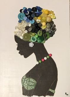 Watch this video so cute and peaceful I wonder if everyone would expect Button Art Projects, Button Crafts, African Quilts, African Art Paintings, Black Girl Art, Art Girl, African Crafts, Black Art Pictures, Diy Accessoires