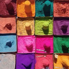 "Harries ""Colours of India - These pots of gulal are used to celebrate at festivals"" World Of Color, Color Of Life, One Color, Holi, Palette, Artist Life, Fairy Dust, Rainbow Colors, Party Time"