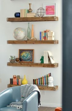 Make a set of industrial modern floating shelves with this home decor DIY project.