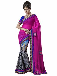 • Fabric:Sensious Pink Chiffon Designer Saree • Size :5.5 m + 0.90 m Blouse • Easy to wash • Perfect Finshing just as shown in picture • Color : Pink