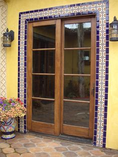 Santa Barbara tile series from Tierra y Fuego, San Diego. Mexican Style Homes, Mexican Home Decor, Spanish Style Homes, Spanish House, Door Design, House Design, Exterior Tiles, Exterior Windows, Mexican Patio