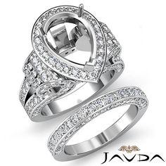 Diamond Engagement Ring Pear Pave Bridal Sets Semi Mount 14k Gold White 3 65ct | eBay