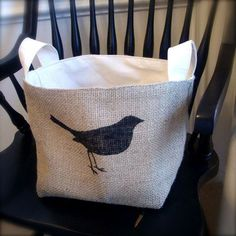 XL Coffee Sack Baskets Uncovet--Put a bird on it... :)