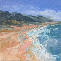 """""""Shoreline Two"""" 4"""" x 4"""" palette knife oil on canvas panel with mini easel for easy display.  Sold to an art lover."""