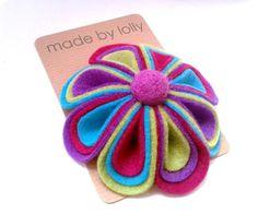 CUSTOM ORDER FOR DINAH Rainbow Felt Flower Brooch