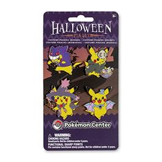 Gengar, Duskull, Golbat, and Mismagius Costume Pikachu 4-Pin Set  |   Costume Pikachu is all dressed up as Gengar, Duskull, Golbat, and Mismagius in this Pokémon pin set! Everyone likes a costume, even Pikachu, and now this set of four pins shows off some mighty fine costumes! See a new side of Pikachu with the Costume Pikachu pin set today!  |  Item Dimensions: |  3.80 inches (W) |  7.00 inches (H) |  0.15 inches (L) |