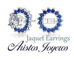 Preciosos jaquet para aretes de Zafiros... Una moda para tus aretes!!#Moda #Estilo #Diamantes #Diseño #Color #Belleza