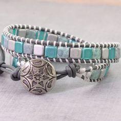 Teal Wrap Bracelet Gray Leather Wrap Bohemian Jewelry Tila Bead Boho Bracelet Light Blue Double Wrap Bracelet Spring Jewelry Boho Chic Super