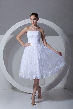 Satin og blonder stropløs knælang korset brudekjole - Focus Vogue