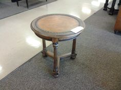 Century side table w/ leather top
