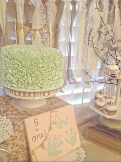 Vintage Shabby Chic First Birthday Party: Cake/ Decor