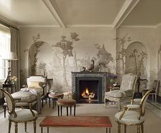Suzanne Rheinstein - great muted palette, and hand painted mural. So chic!