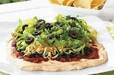 Layered Mexican Dip-This is an easy and delicious recipe for a 7 layer dip. It's also a healthy, meatless, low calorie, low fat, low cholesterol, low sodium, low sugar, Diabetic and Weight Watchers (4 ) PointsPlus+ recipe. Makes 5 Cups or 40 servings.
