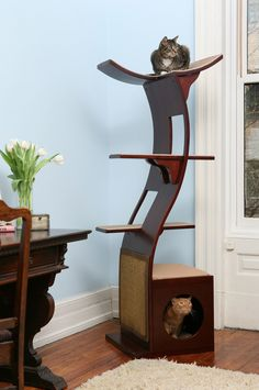 "The Refined Feline 69"" The Lotus Cat Tree in Espresso & Reviews | Wayfair"
