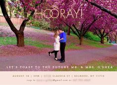 The most important thing is to have fun with your invitation design! Choose a fun or romantic photo, vibrant colors or patterns, or a meaningful quote. These hooray engagement party invitatons are from Minted. Wedding Invitation Templates, Invitation Design, Wedding Invitations, Engagement Party Planning, Engagement Parties, Just Engaged, Romantic Photos, Pop Bottles, Meaningful Quotes