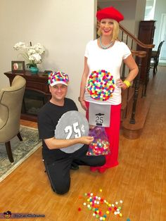 Emily: I am 35 weeks pregnant and wanted to include our little girl, Iris Joy, in the costume. Costume Halloween, Pregnant Couple Halloween Costumes, Gumball Machine Halloween Costume, Gumball Costume, Pregnancy Costumes, Diy Costumes, Halloween Diy, Costume Ideas, Maternity Costumes