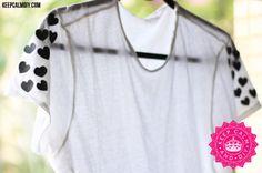 DIY: Polka Hearts T-shirt | Customizando camiseta com couro