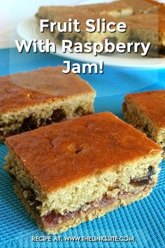 This recipe is almost legendary in our house. Everyone starts licking their lips when someone says 'you should make that fruit slice with raspberry jam'! Tray Bake Recipes, Jam Recipes, Sweet Recipes, Dessert Recipes, Baking Recipes, Recipies, Yummy Recipes, Delicious Fruit, Yummy Food