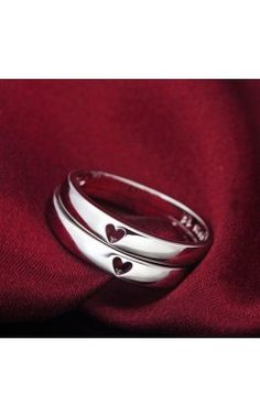 Simple Style Heart to Heart 925 Silver Couples Matching Promise Rings(Price for a Pair)