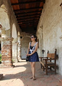 Soaking Up The California Sun. Crocheted Vest, Retro Crop Top, and Linen Skirt. San Juan Capistrano Mission.