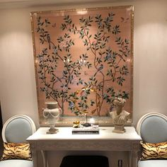 Chinoiserie handpainted wallpaper: peach blossom garden, one standard roll of 3 by 8 ft, custom size available Silk Wallpaper, Hand Painted Wallpaper, Chinoiserie Wallpaper, Framed Wallpaper, Painted Walls, Green Silk, Pink Silk, Pale Pink, Stairway Walls