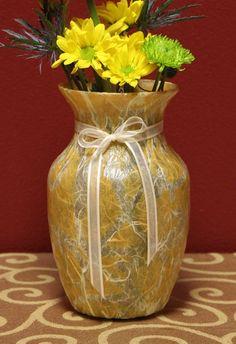 Gold Batik Handmade  Glass Vase by KjgBoutique on Etsy