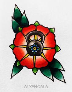 Kettlebell by: Alejandra L Manriquez   #crossfit #tattoo #tattooflash